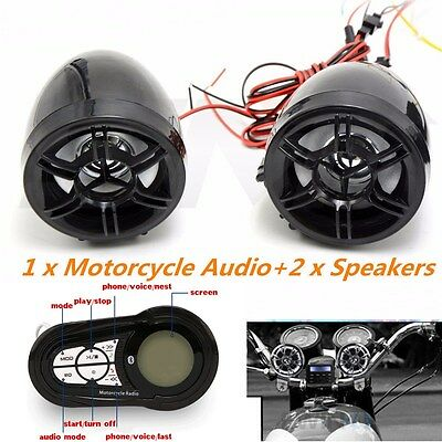 Bluetooth Handfree Audio System MP3 Player Radio Stereo Speakers For Motorcycle