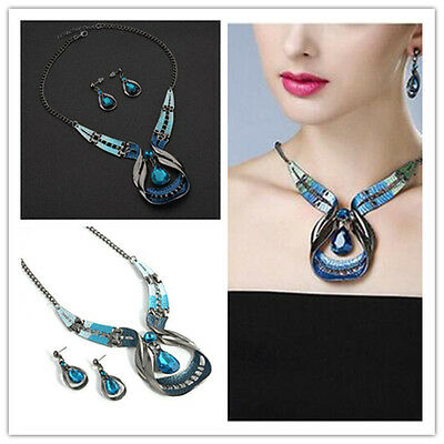 Fashion Noble Style Jewelry Sets Blue Thick lines Necklace Water Drop Earring