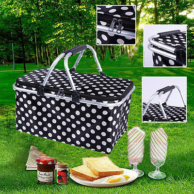 Portable Insulated Folding Picnic Basket / Cooler with Handles Shopping Baskets