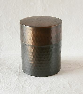 Japanese Vintage Copper Tea Caddy Finish Hammer Green Tea