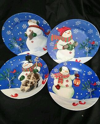 Set Of 4 Studio 33 Snowman Dessert Plates 7.5\ Winter Christmas & Studio 33 Plates u0026