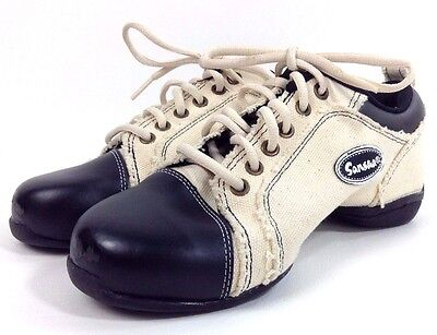 Sansha Voltage Dance Sneakers Shoes Split-Sole Size 8 Women Beige & Black