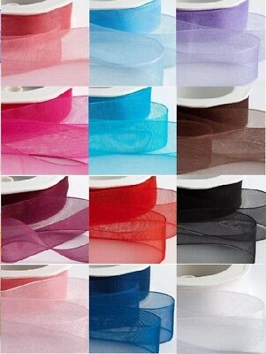 2 Metres, ORGANZA Ribbon, 25mm, White, Green, Yellow, Red, Orange, Blue, Purple
