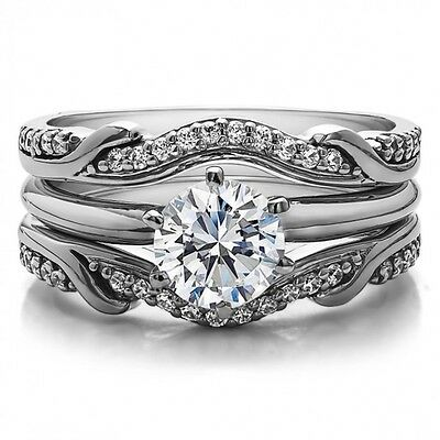 2.00CT Round-Cut Diamond Solitaire Bridal Set Engagement Ring 14k White Gold