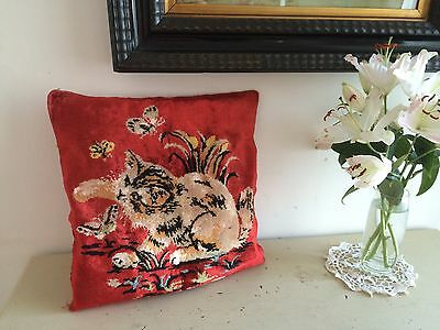 VINTAGE 1930s CHENILLE CUSHION COVER SLIP KITTEN & BUTTERFLIES RETRO HOMESTYLE