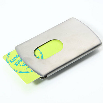 Business Credit Card Holder Case Thumb Slide Out Stainless Steel Pocket Fashion