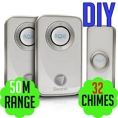 Swann Twin Pack Wireless Door Chime / Doorbell with Mains Power SWHOM-DC820P2