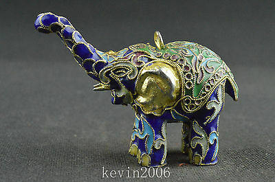 China collectible old cloisonne handwork carved elephant noble statue