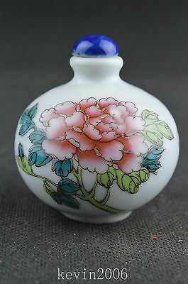 China collectible porcelain handwork painted lucky flower snuff bottle