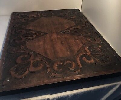 Rare Vintage Antique Old Hand Carved Solid Wood  Panel Distressed Pattern