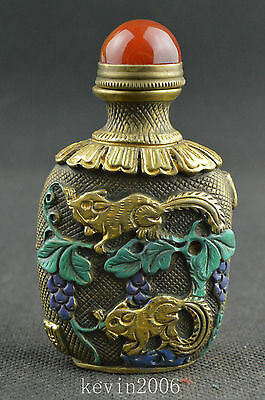 China collectible copper handwork carved squirrel unique snuff bottle