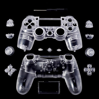 Custom Full Shell Housing Clear Replacement For PS4 Playstation 4 Controller New