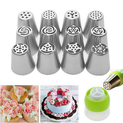 12 Pcs Russian Flower Icing Piping Nozzles Decoration Tips Baking Xmas Cake Tool