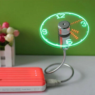 USB LED Fan Lamp Night Light Display Real Time Clock Luminous Watch for Summer