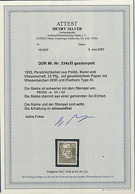 DDR Michel No. 334 z XI gestempelt / Attest BPP Mayer