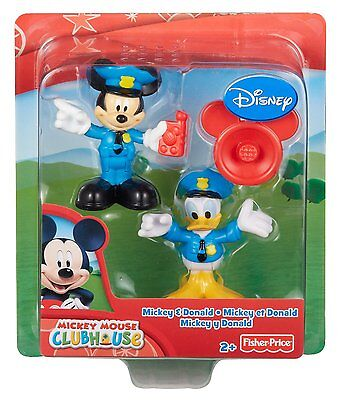 New Fisher Price Disney Clubhouse Policeman Mickey & Donald Toy Figures Ages 2+