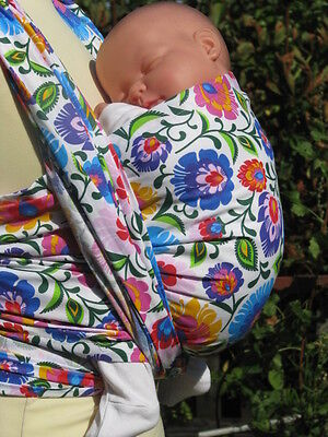 New Ethnic Black White Folk Flowers Baby Sling Woven 100% Cotton Wrap Carrier
