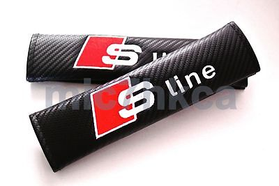 2x carbon fibre car seat belt cushion cover pads for S LINE mod Audi (UK stock)