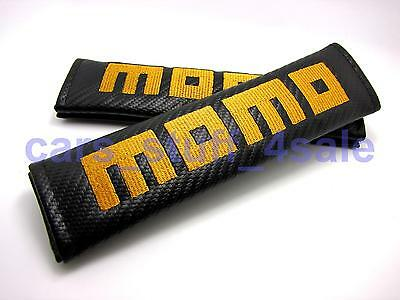 2x carbon fibre car seat belt cushion cover pads for MOMO RACING mod (UK stock)
