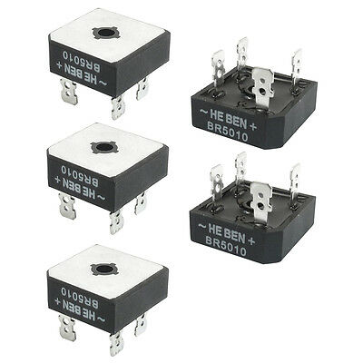 BR5010 Professional Metal Case Bridge Rectifier 1000V 50A 5 Pcs PK