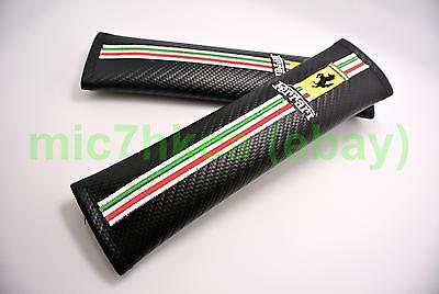 2x carbon fibre car seat belt cushion shoulder cover pads for FERRARI (UK stock)