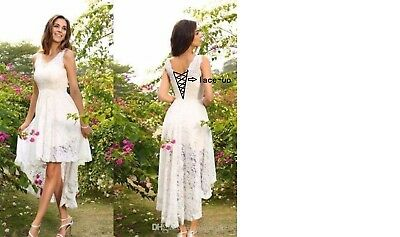 High Low Wedding Dress Bridal Gown Formal Prom Stock Size 6.8.10.12.14.16.18.20