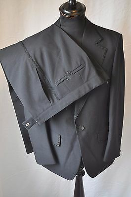 "Vintage black tuxedo 2 peice dinner suit with edge braiding size small 38"" W 32"""