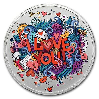 1OZ I Love You Colorized Proof .999 Pure Silver - Gift for Anytime W/ Gift Box
