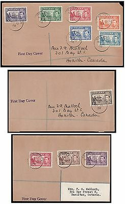 St. Helena 1938 set of 10 on 3 separate First Day Covers. E1592