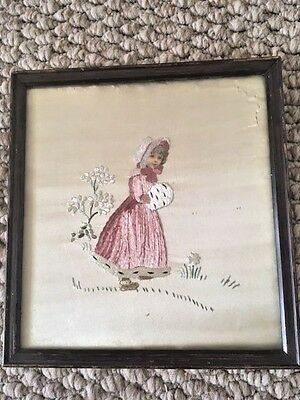 Beautiful 19th Century Framed Silk Work Picture Embroidery Girl in Landscape