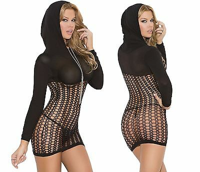 Sleeved Hooded Bodysuit BNWT Tights Catsuit Bodystocking Lingerie Fishnet A56