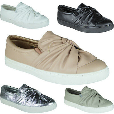 Womens Ladies Trainers Faux Leather Slip On Flat Bow Sneakers Pumps Shoes Size