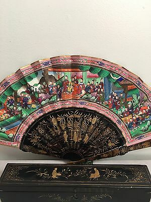 Antique Chinese Qing 1900 C 100 Face Fan