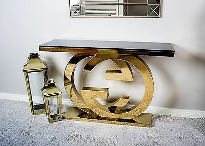 Modern Console Table Gold Black Glass Venetian Hall Metal Dressing Contemporary