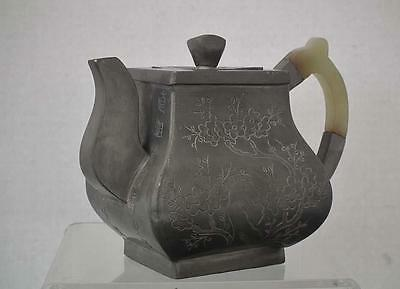 Antique 19th century Chinese Qing Dynasty Pewter And Jade Teapot
