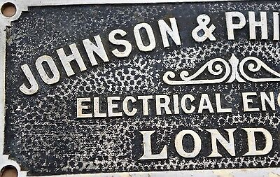Vintage Brass Johnson & Phillips Electrical Engineers London Sign