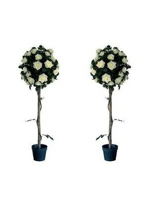4 Foot Artificial White Rose Topiary Tree Beautiful Decoration Home Pair of 2