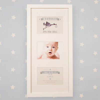 Personalised Lovely Illustrated Wall Frame Stork Portrait New Baby Newborn Gift