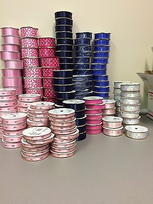 Lot of over 200 Offray Ribbons Various Sizes, Colors and Patterns Craft Sewing