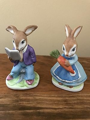 (2) Vintage Porcelain Frankel Boy & Girl Bunnies