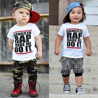 Toddler Kids Baby Boys Hip-Hop Blouse Casual T-shirt Tops Tee Summer Clothes