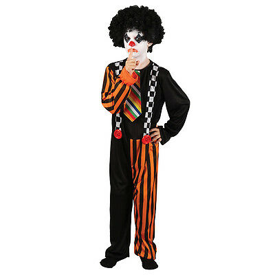 Children's Halloween Sinister Clown With Braces Fancy Dress Costume-5-7 Years