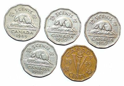 1943 1949 1950 CANADA 5 CENTS LOT nickel five coins one penny
