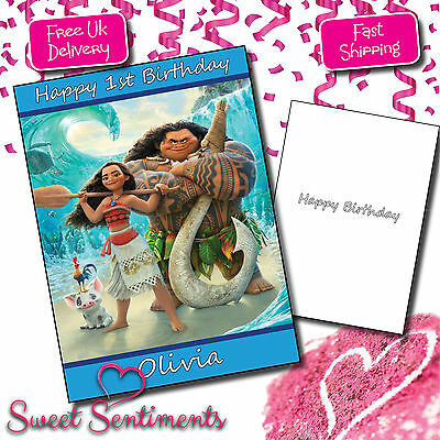 Personalised Moana Birthday / Any Greetings Card Kids