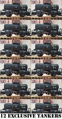 NEW 12 YES TWELVE G SCALE 45mm GAUGE BLACK OIL TANKER ROLLING RAILWAY TRAIN