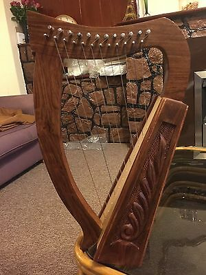 Irish Harp 12 String Rose Wood/ Celtic Harp With Carrying Bag ( Solid Wood)