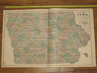 1875 Atlas - Sectional Map of Iowa -ORIGINAL County A.T. Andreas 28x17.5 IA citi