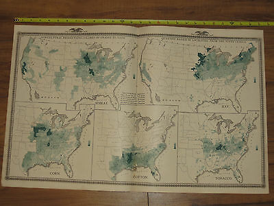 1875 Atlas - United State Census Map of 1870 - Population Deaths Corn Wheat Hay