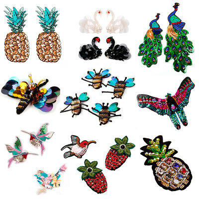 Sequin Iron On Sew On Patches Embroidery Badge Clothes Fabric Applique Decor DIY
