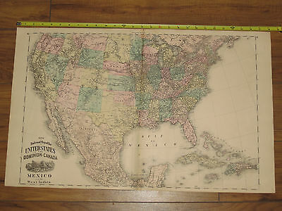 1875 Atlas - Railroad Map of United States Dominion of Canada Mexico West Indies